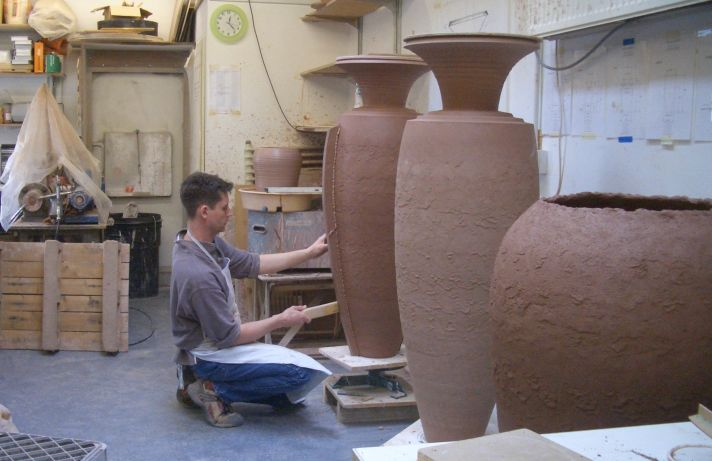 Coil pots being made and drying